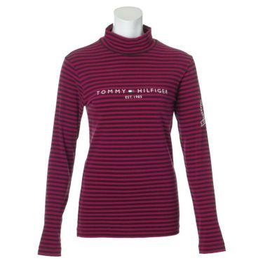 トミー ヒルフィガー ゴルフ レディース ロゴプリント ボーダー柄 長袖 ハイネックシャツ THLA064 2020年モデル ピンク(48)