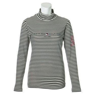 トミー ヒルフィガー ゴルフ レディース ロゴプリント ボーダー柄 長袖 ハイネックシャツ THLA064 2020年モデル ホワイト(00)