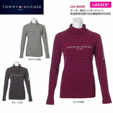 トミー ヒルフィガー ゴルフ レディース ロゴプリント ボーダー柄 長袖 ハイネックシャツ THLA064 2020年モデル 詳細2