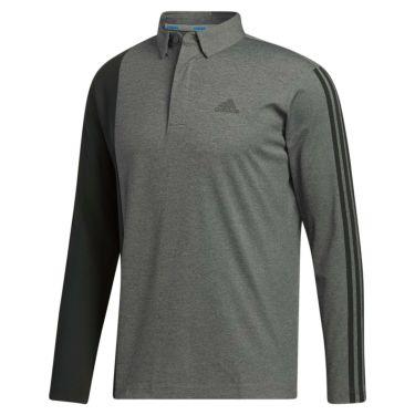 アディダス adidas メンズ カラーブロック スリーストライプス 長袖 ボタンダウン ポロシャツ INS69 2020年モデル ダークグレーヘザー(FS6839)