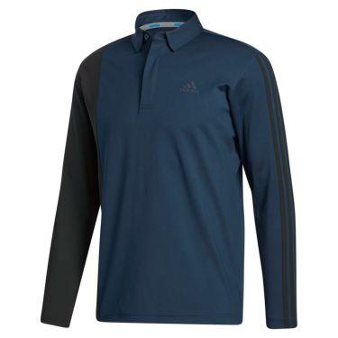 アディダス adidas メンズ カラーブロック スリーストライプス 長袖 ボタンダウン ポロシャツ INS69 2020年モデル カレッジネイビー(GL8495)