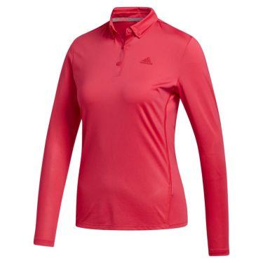 アディダス adidas レディース ロゴプリント 長袖 ボタンダウン ポロシャツ INR96 2020年モデル パワーピンク(FS6315)