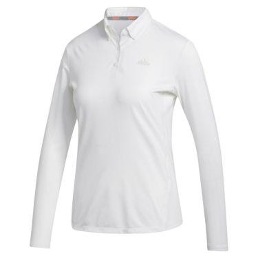 アディダス adidas レディース ロゴプリント 長袖 ボタンダウン ポロシャツ INR96 2020年モデル ホワイト(FS6314)