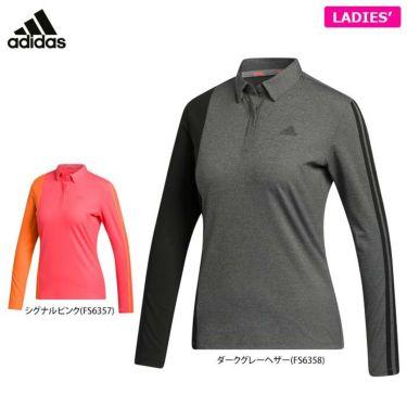 アディダス adidas レディース スリーストライプス カラーブロック 長袖 ボタンダウン ポロシャツ INS01 2020年モデル