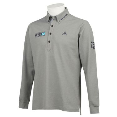 ルコック Le coq sportif メンズ ロゴ刺繍 鹿の子 長袖 ボタンダウン ポロシャツ QGMQJB06 2020年モデル グレー(GY00)