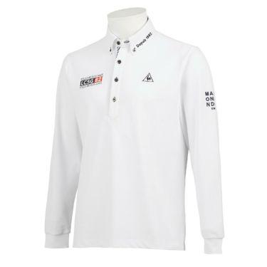 ルコック Le coq sportif メンズ ロゴ刺繍 鹿の子 長袖 ボタンダウン ポロシャツ QGMQJB06 2020年モデル ホワイト(WH00)