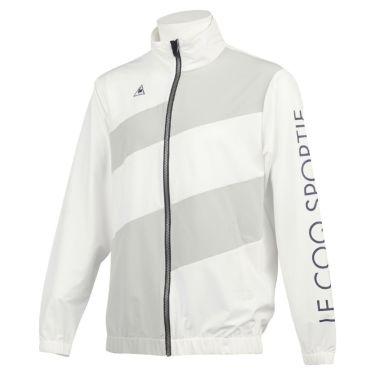 ルコック Le coq sportif メンズ 撥水 ストレッチ ロゴプリント カラーブロック 長袖 フルジップ ブルゾン QGMQJK03 2020年モデル ホワイト(WH00)