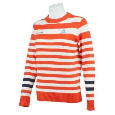 ルコック Le coq sportif レディース ロゴ刺繍 ボーダー柄 ウール混 長袖 クルーネック セーター QGWQJL08 2020年モデル オレンジ(OR00)
