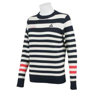 ルコック Le coq sportif レディース ロゴ刺繍 ボーダー柄 ウール混 長袖 クルーネック セーター QGWQJL08 2020年モデル ネイビー(NV00)