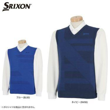 スリクソン SRIXON メンズ ボーダー柄 Vネック ニットベスト RGMQJL80 2020年モデル 詳細1