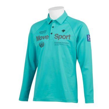 デサントゴルフ DESCENTE GOLF メンズ プリントデザイン 裏起毛 長袖 ポロシャツ DGMQJB15 2020年モデル エメラルドグリーン(EM00)