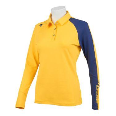 デサントゴルフ DESCENTE GOLF レディース ロゴプリント 配色切替 ストレッチ 長袖 ポロシャツ DGWQJB03 2020年モデル イエロー(YL00)