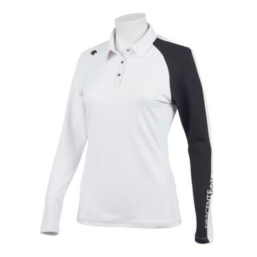 デサントゴルフ DESCENTE GOLF レディース ロゴプリント 配色切替 ストレッチ 長袖 ポロシャツ DGWQJB03 2020年モデル ホワイト(WH00)