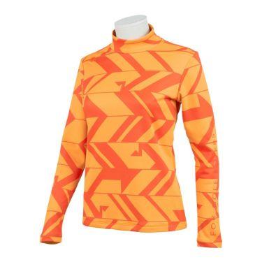 デサントゴルフ DESCENTE GOLF レディース 総柄プリント ヒートナビ 裏起毛 長袖 ハイネックシャツ DGWQJB07 2020年モデル オレンジ(OR00)