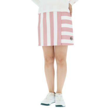 アンパスィ and per se レディース ボーダー柄 ぺチパンツ付き スカート AFF4010F1 2020年モデル ピンク(43)