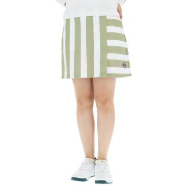 アンパスィ and per se レディース ボーダー柄 ぺチパンツ付き スカート AFF4010F1 2020年モデル イエロー(70)