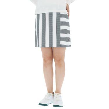アンパスィ and per se レディース ボーダー柄 ぺチパンツ付き スカート AFF4010F1 2020年モデル ホワイト(10)