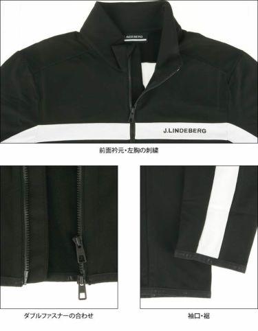 Jリンドバーグ J.LINDEBERG メンズ ロゴ刺繍 ラインデザイン 裏起毛 長袖 フルジップ ジャケット 071-53911 2020年モデル 詳細4