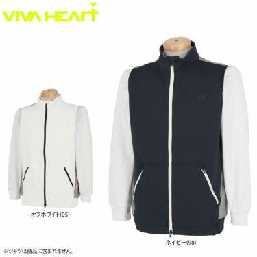 ビバハート VIVA HEART メンズ ワッペン ロゴプリント レイヤード 生地切替 フルジップ ベスト 011-43971 2020年モデル 詳細1