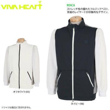 ビバハート VIVA HEART メンズ ワッペン ロゴプリント レイヤード 生地切替 フルジップ ベスト 011-43971 2020年モデル 詳細2