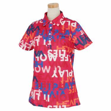 ビバハート VIVA HEART レディース タイポグラフィ柄 鹿の子 半袖 ポロシャツ 012-23843 2020年モデル ピンク(74)