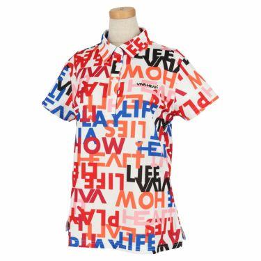 ビバハート VIVA HEART レディース タイポグラフィ柄 鹿の子 半袖 ポロシャツ 012-23843 2020年モデル オフホワイト(05)