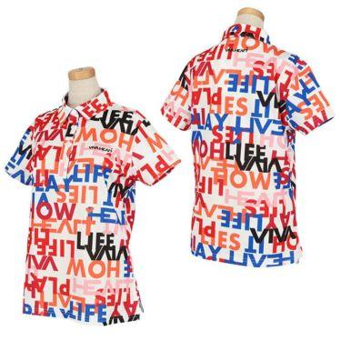 ビバハート VIVA HEART レディース タイポグラフィ柄 鹿の子 半袖 ポロシャツ 012-23843 2020年モデル 詳細3