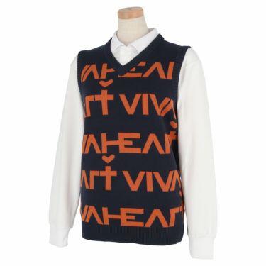ビバハート VIVA HEART レディース ロゴデザイン Vネック ニットベスト 012-43972 2020年モデル ネイビー(98)