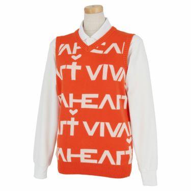 ビバハート VIVA HEART レディース ロゴデザイン Vネック ニットベスト 012-43972 2020年モデル オレンジ(35)