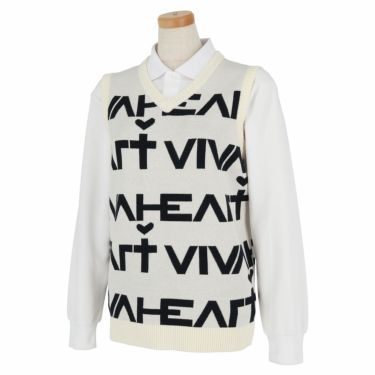 ビバハート VIVA HEART レディース ロゴデザイン Vネック ニットベスト 012-43972 2020年モデル オフホワイト(05)