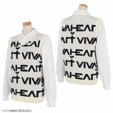 ビバハート VIVA HEART レディース ロゴデザイン Vネック ニットベスト 012-43972 2020年モデル 詳細3