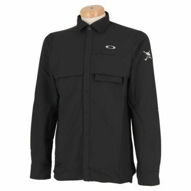 オークリー OAKLEY メンズ SKULL ロゴ刺繍 生地切替 ベンチレーション 長袖 ポロシャツ FOA401678 2020年モデル ブラックアウト(02E)
