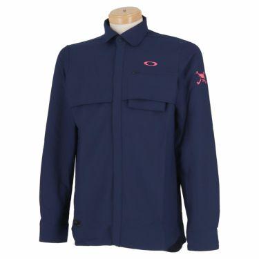 オークリー OAKLEY メンズ SKULL ロゴ刺繍 生地切替 ベンチレーション 長袖 ポロシャツ FOA401678 2020年モデル ピーコート(67Z)