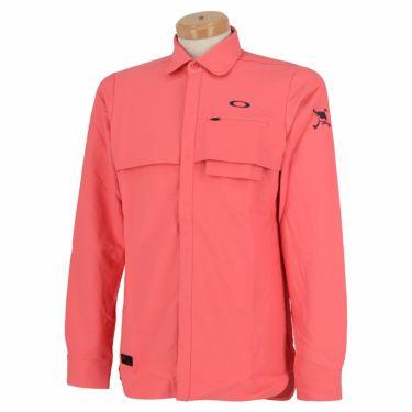 オークリー OAKLEY メンズ SKULL ロゴ刺繍 生地切替 ベンチレーション 長袖 ポロシャツ FOA401678 2020年モデル コーラルピンク(40K)