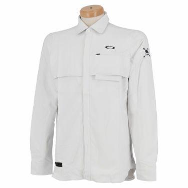 オークリー OAKLEY メンズ SKULL ロゴ刺繍 生地切替 ベンチレーション 長袖 ポロシャツ FOA401678 2020年モデル ホワイト(100)