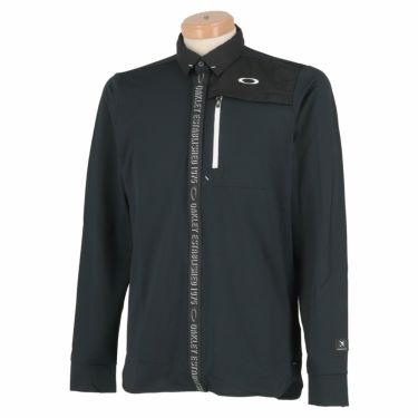 オークリー OAKLEY メンズ SKULL ロゴテープ 生地切替 長袖 ポロシャツ FOA401680 2020年モデル ブラックアウト(02E)
