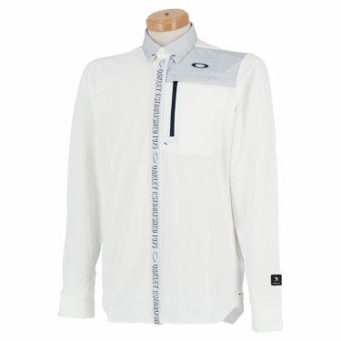 オークリー OAKLEY メンズ SKULL ロゴテープ 生地切替 長袖 ポロシャツ FOA401680 2020年モデル ホワイト(100)