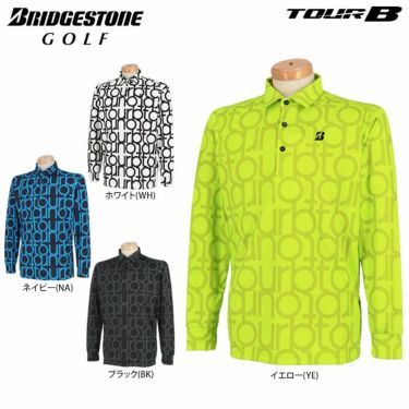 ブリヂストンゴルフ TOUR B メンズ 撥水 タイポグラフィ柄 防風 長袖 ポロシャツ SGM07F 2020年モデル 詳細1