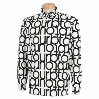 ブリヂストンゴルフ TOUR B メンズ 撥水 タイポグラフィ柄 防風 長袖 ポロシャツ SGM07F 2020年モデル ホワイト(WH)