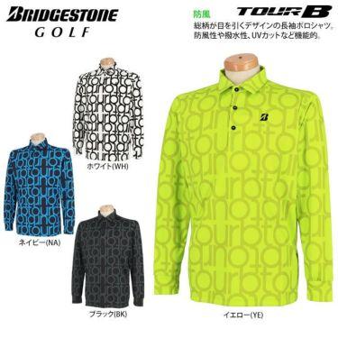 ブリヂストンゴルフ TOUR B メンズ 撥水 タイポグラフィ柄 防風 長袖 ポロシャツ SGM07F 2020年モデル 詳細2