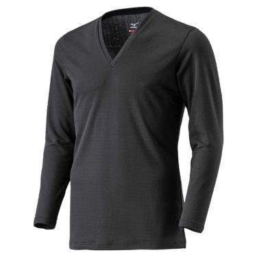 ミズノ MIZUNO メンズ ブレスサーモアンダー 長袖 Vネック インナーシャツ C2JA0610 2020年モデル ブラック(C2JA061009)