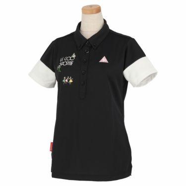 ルコック Le coq sportif レディース ロゴ刺繍 半袖 ボタンダウン ポロシャツ QGWNJA06 ブラック(BK00)