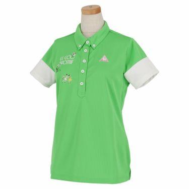 ルコック Le coq sportif レディース ロゴ刺繍 半袖 ボタンダウン ポロシャツ QGWNJA06 グリーン(GR00)