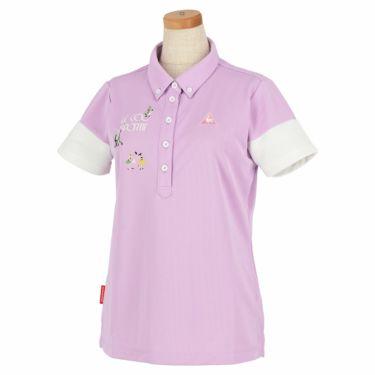ルコック Le coq sportif レディース ロゴ刺繍 半袖 ボタンダウン ポロシャツ QGWNJA06 パープル(PP00)