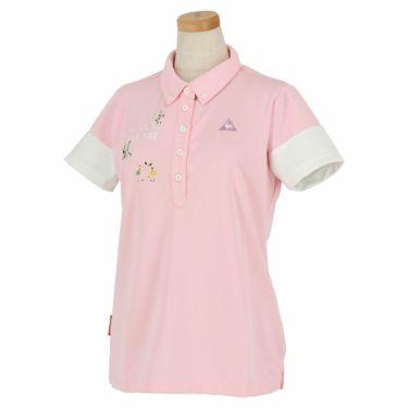 ルコック Le coq sportif レディース ロゴ刺繍 半袖 ボタンダウン ポロシャツ QGWNJA06 ピンク(PK00)