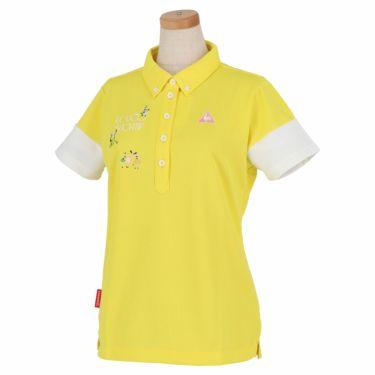 ルコック Le coq sportif レディース ロゴ刺繍 半袖 ボタンダウン ポロシャツ QGWNJA06 イエロー(YL00)