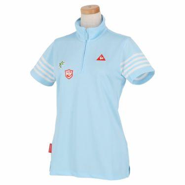 ルコック Le coq sportif レディース 鹿の子 モチーフワッペン 半袖 ハーフジップシャツ QGWNJA12 ブルー(BL00)