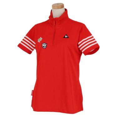 ルコック Le coq sportif レディース 鹿の子 モチーフワッペン 半袖 ハーフジップシャツ QGWNJA12 レッド(RD00)