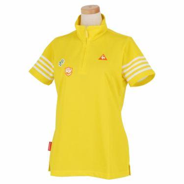 ルコック Le coq sportif レディース 鹿の子 モチーフワッペン 半袖 ハーフジップシャツ QGWNJA12 イエロー(YL00)