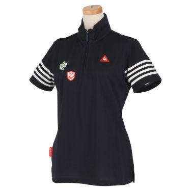 ルコック Le coq sportif レディース 鹿の子 モチーフワッペン 半袖 ハーフジップシャツ QGWNJA12 ネイビー(NV00)